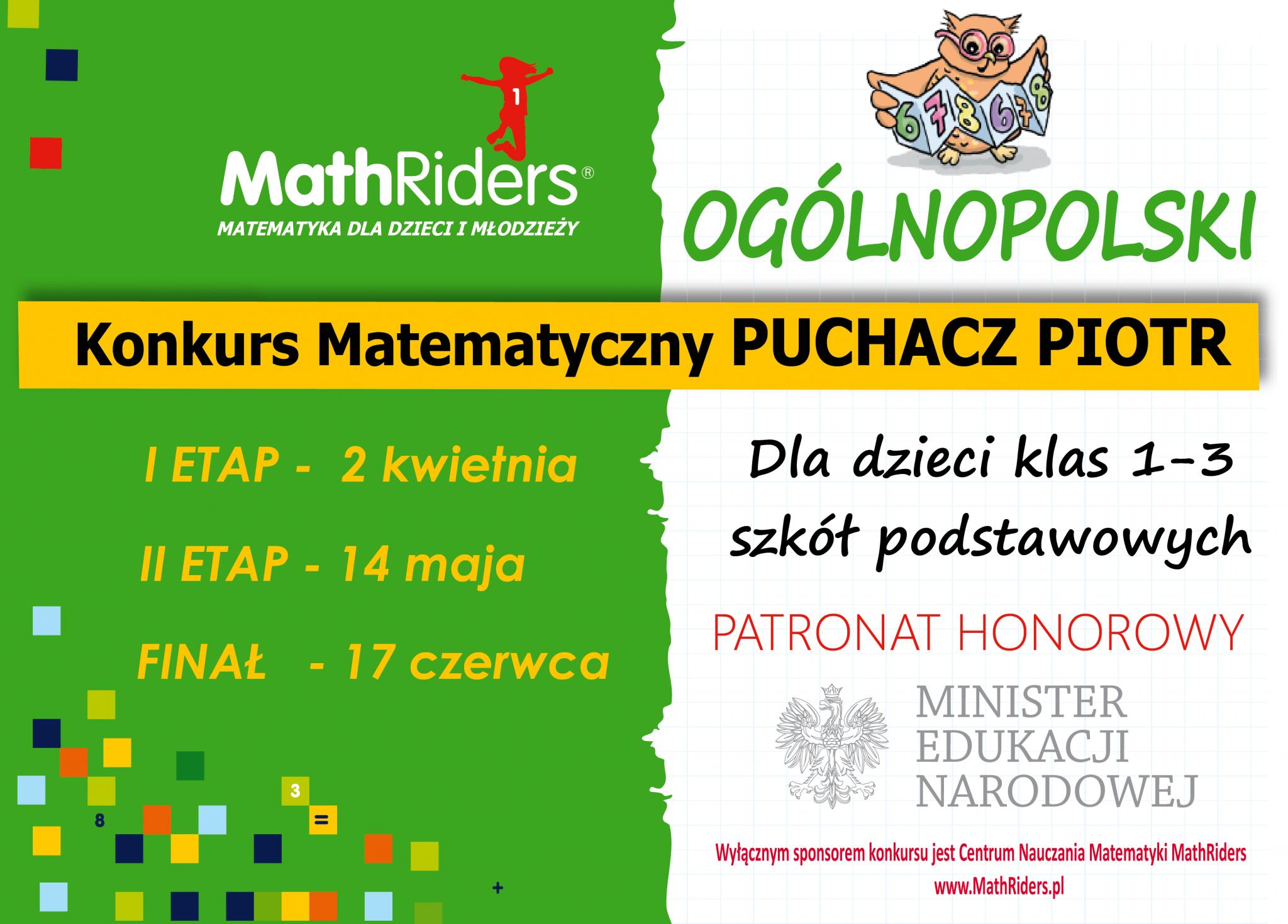Konkurs matematyczny PUCHACZ PIOTR dla klas 1-3